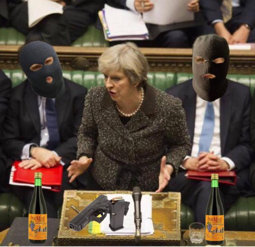 Theresa May is TERRORIST GOVERNMENT symbolism and who outlaw abortion, homosexuality